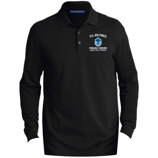 US Air Force E-7 Master Sergeant MSgt E7 Noncommissioned Officer Core Values Embroidered LS Polo Shirt - Colorblock 1/2 Zip