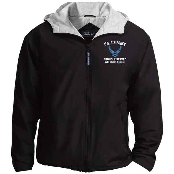 US Air Force Logo Proudly Served Embroidered Port Authority® Hoodie Team Jacket