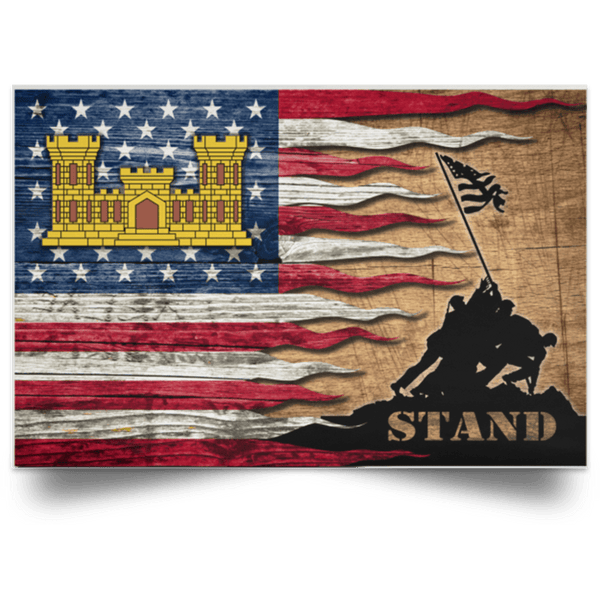 U.S. Army Corps of Engineers Stand For The Flag Satin Landscape Poster