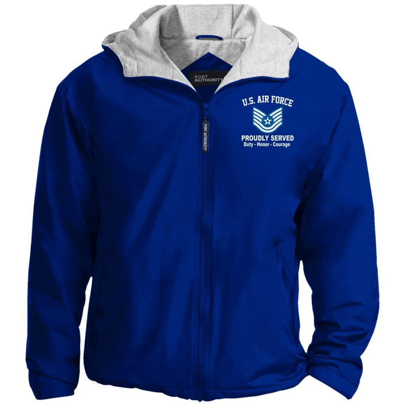 US Air Force E-6 Technical Sergeant TSgt E6 Noncommissioned Officer Proudly Served Embroidered Hoodie Team Jacket