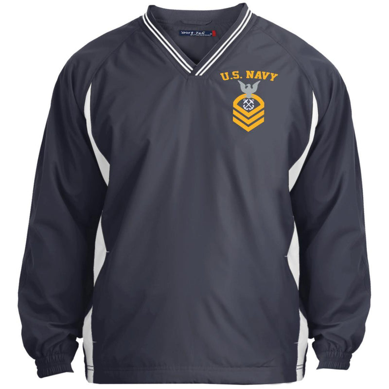 US Navy Boatswains Mate BM E-7 Rating Badges Embroidered Sport-Tek Tipped V-Neck Windshirt