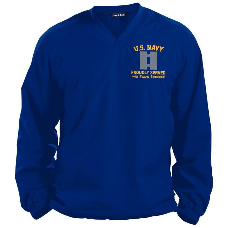 US Navy O-3 Lieutenant O3 LT Junior Officer Proudly Served Proudly Served Embroidered Sport-Tek Pullover V-Neck Windshirt