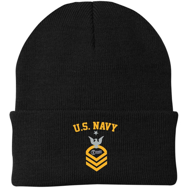 US Navy Postal Clerk PC E-8 Rating Badges Embroidered Port Authority Knit Cap