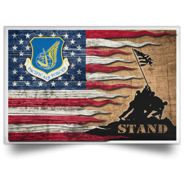 US Air Force Pacific Air Forces Stand For The Flag Satin Landscape Poster