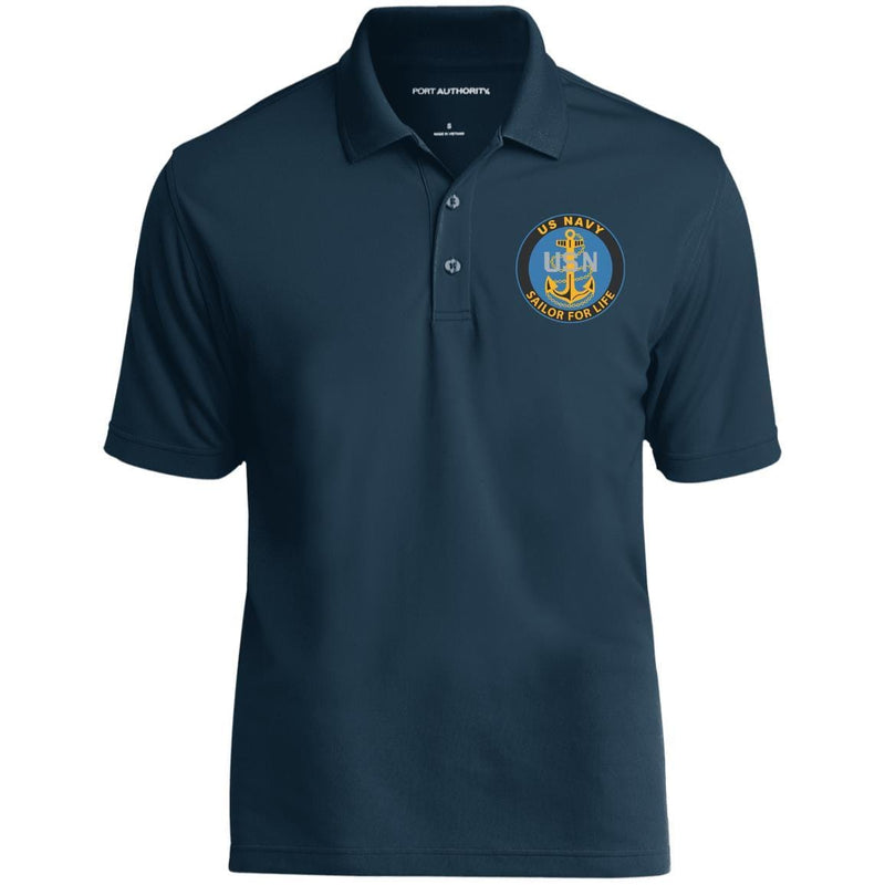 US Navy E-7 Chief Petty Officer E7 CPO Senior Noncommissioned Officer Collar Device Soldier For Life Embroidered Port Authority® Polo Shirt
