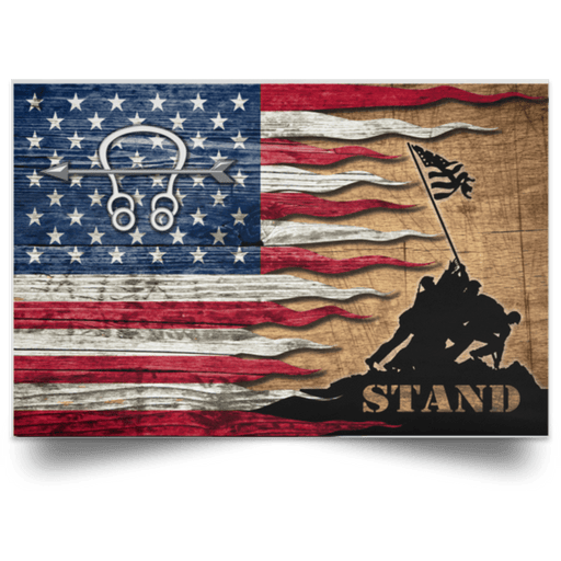 US Coast Guard Sonar Technician ST Logo Stand For The Flag Satin Landscape Poster