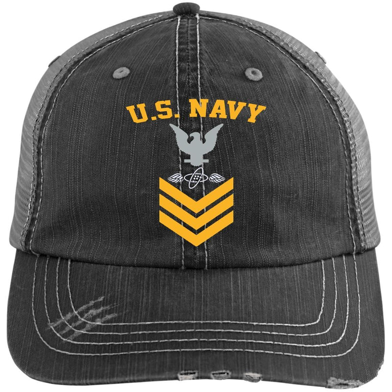 US Navy Aviation Electronics Technician AT E-6 Rating Badges Gold Stripe Embroidered Distressed Unstructured Trucker Cap