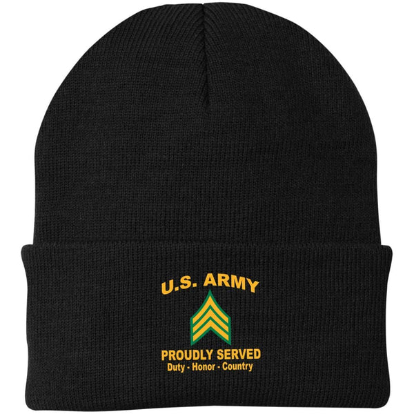 US Army E-5 Sergeant E5 SGT   Proudly Served Military Mottos Embroidered Port Authority Knit Cap