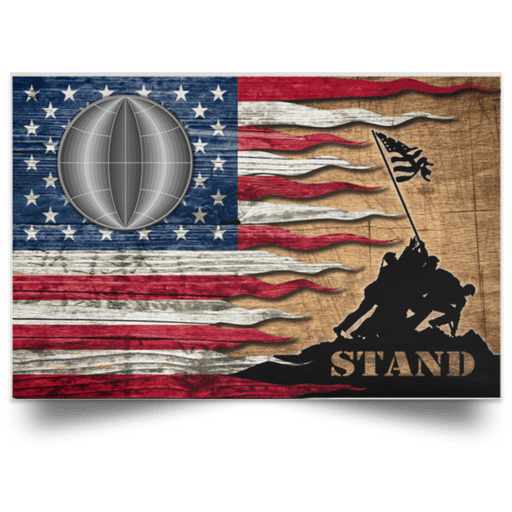 US Coast Guard Electrician's Mate EM Logo Stand For The Flag Satin Landscape Poster