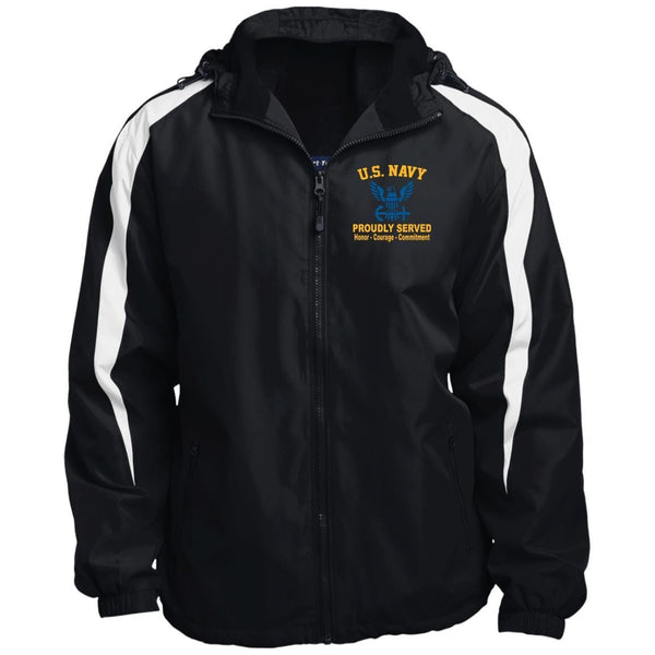 US Navy Logo Proudly Served JST81 Sport-Tek Fleece Lined Colorblocked Hooded Jacket