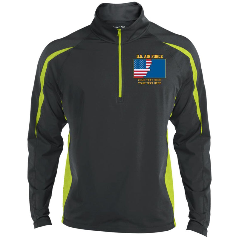 US Air Force Ranks - Personalized Embroidered Sport-Tek® ST851 Sport-Tek Men's Sport Wicking Colorblock 1/2 Zip