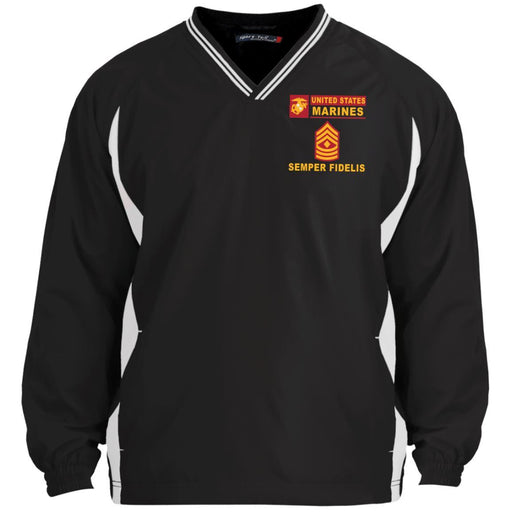 USMC E-8 First Sergeant E8 1stSg Senior Enlisted Advisor- Semper Fidelis Sport-Tek Tipped V-Neck Windshirt