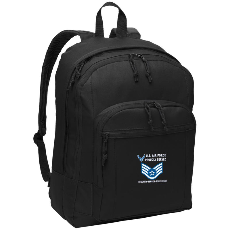 US Air Force E-5 Staff Sergeant SSgt E5 Noncommissioned Officer Proudly Served-D04 Embroidered Backpack
