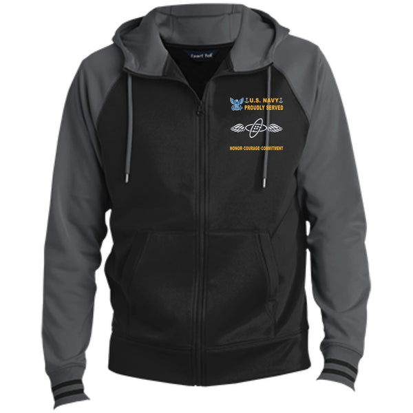 US Navy Aviation Electronics Technician AT - Proudly Served-D04 Embroidered Sport-Tek® Full-Zip Hooded Jacket
