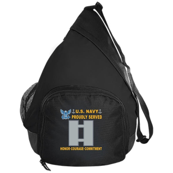 US Navy O-3 Lieutenant O3 LT Junior Officer Proudly Served-D04 Embroidered Active Sling Pack