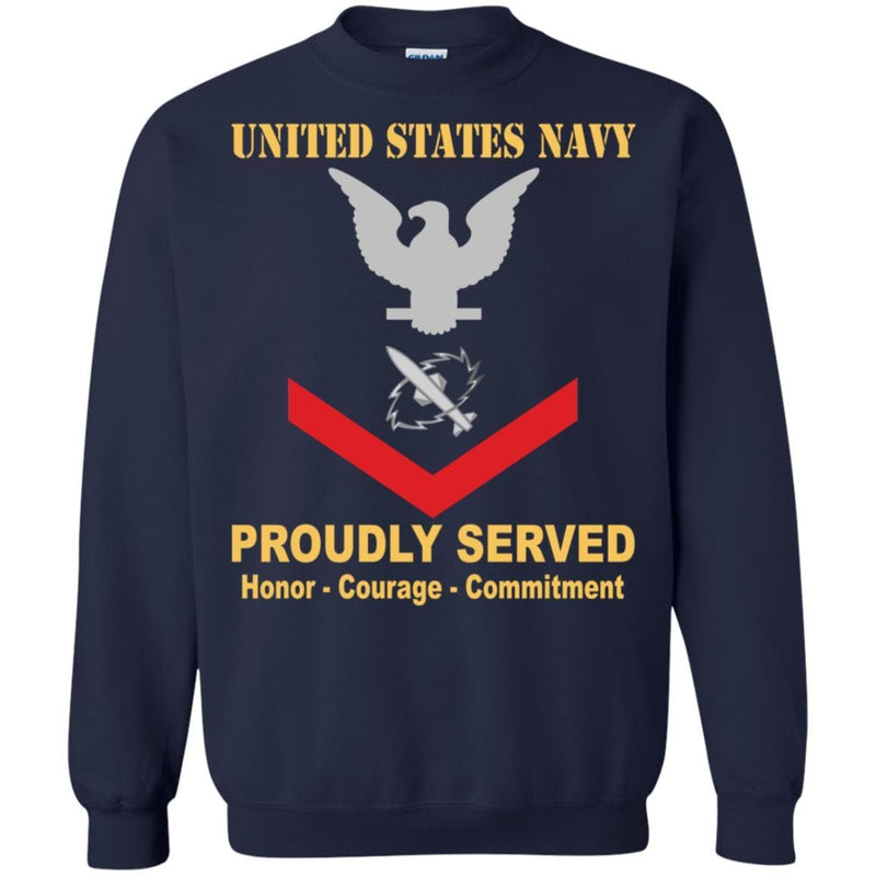Navy Missile Technician Navy MT E-4 Rating Badges Proudly Served T-Shirt For Men On Front