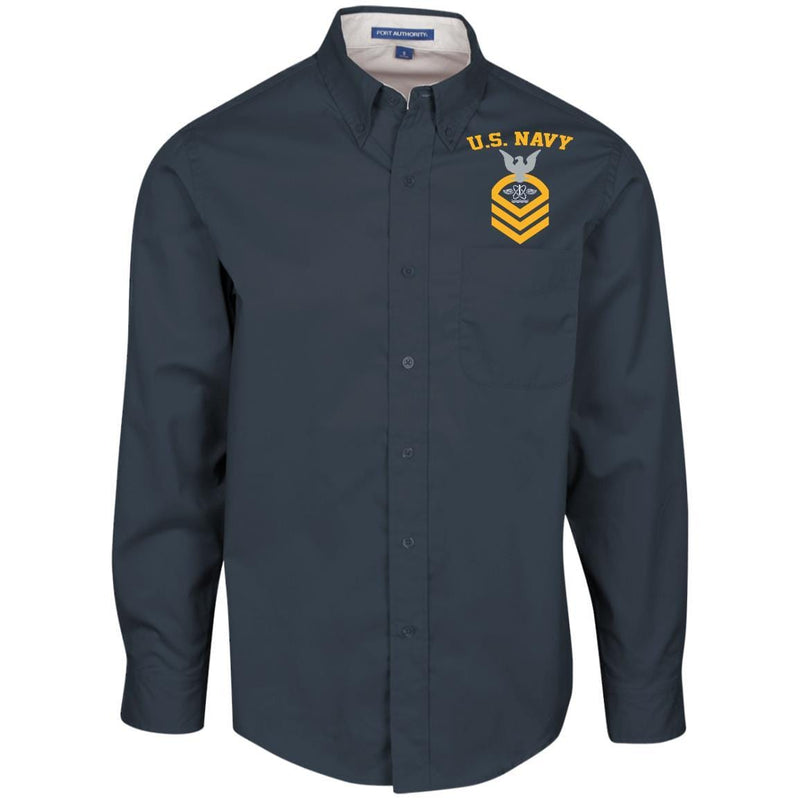 US Navy Aviation Warfare Systems Technician AW E-7 Rating Badges Embroidered Port Authority Men's LS Dress Shirt