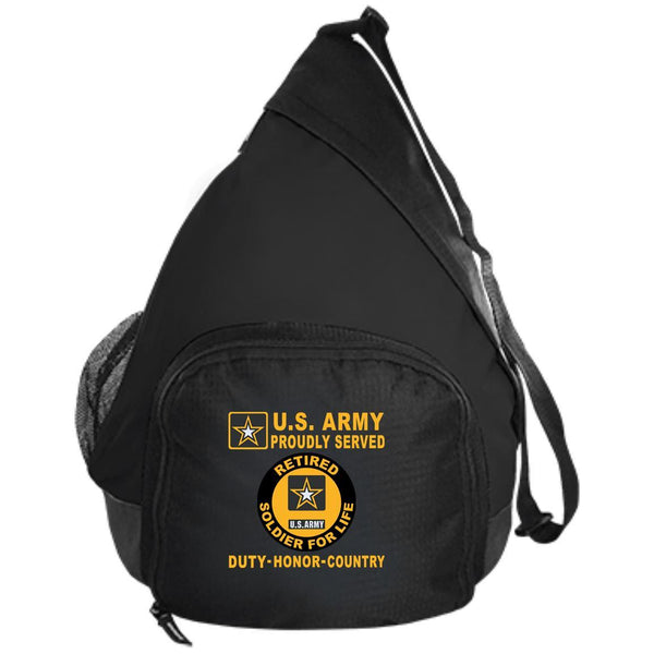 US Army Soldier For Life Retired Service ID Badge - Proudly Served-D04 Embroidered Active Sling Pack