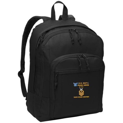 US Navy E-9 Master Chief Petty Officer Of The Navy E9 MCPON Collar Device Proudly Served-D04 Embroidered Backpack