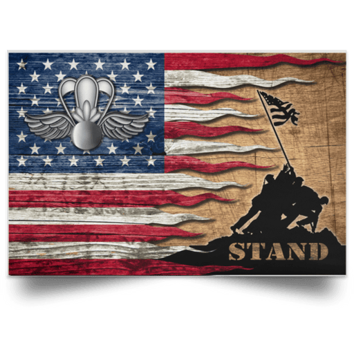 USCG AVIATION SURVIVAL TECHNICIAN AST Logo Stand For The Flag Satin Landscape Poster