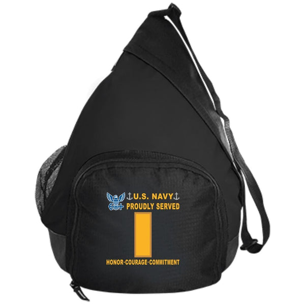 US Navy O-1 Ensign O1 ENS Junior Officer Proudly Served-D04 Embroidered Active Sling Pack