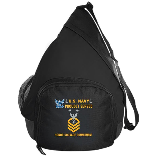 US Navy E-9 Command Master Chief Petty Officer E9 CMDCM Senior Enlisted Advisor Collar Device Proudly Served-D04 Embroidered Active Sling Pack