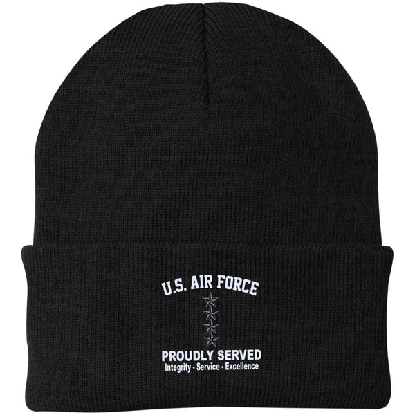 US Air Force O-10 General Gen O10 General Officer Core Values Embroidered Port Authority Knit Cap