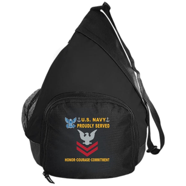 US Navy E-5 Petty Officer Second Class E5 PO2 Collar Device Proudly Served-D04 Embroidered Active Sling Pack