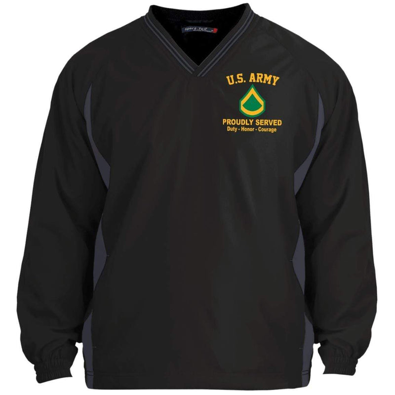 US Army E-3 Private First Class E3 PFC Enlisted Soldier Embroidered Sport-Tek Tipped V-Neck Windshirt