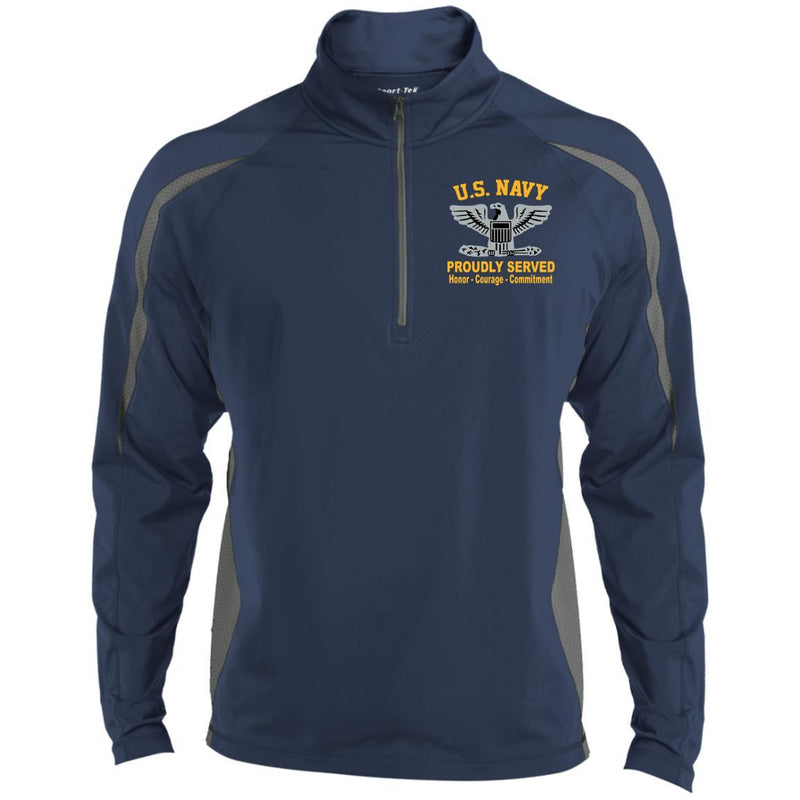 US Navy O-6 Captain O6 CAPT Senior Officer Proudly Served Embroidered Sport-Tek Pullover V-Neck Windshirt