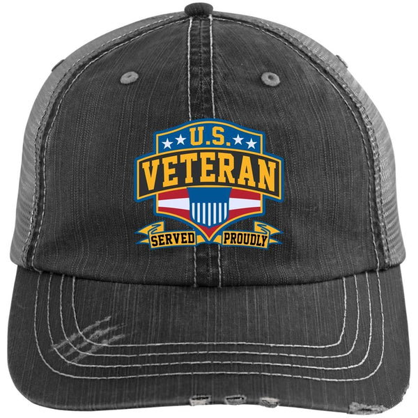 US Coast Guard Veteran Served Proudly Embroidered Distressed Unstructured Trucker Cap