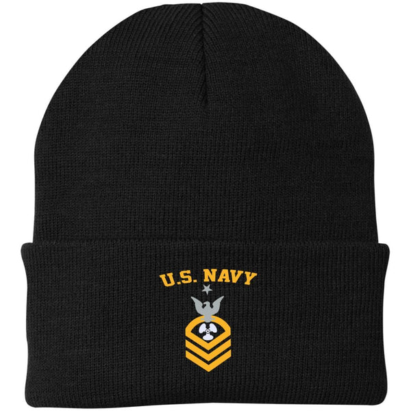 US Navy Machinist's Mate MM E-8 Rating Badges Embroidered Port Authority Knit Cap