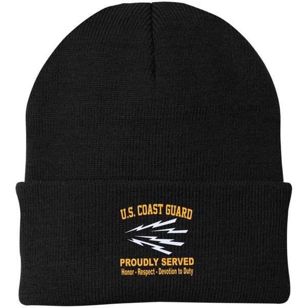 US Coast Guard Telecommunications Specialist TC Logo Embroidered Port Authority Knit Cap