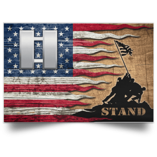US Army O-3 Captain O3 CPT Commissioned Officer Stand For The Flag Satin Landscape Poster