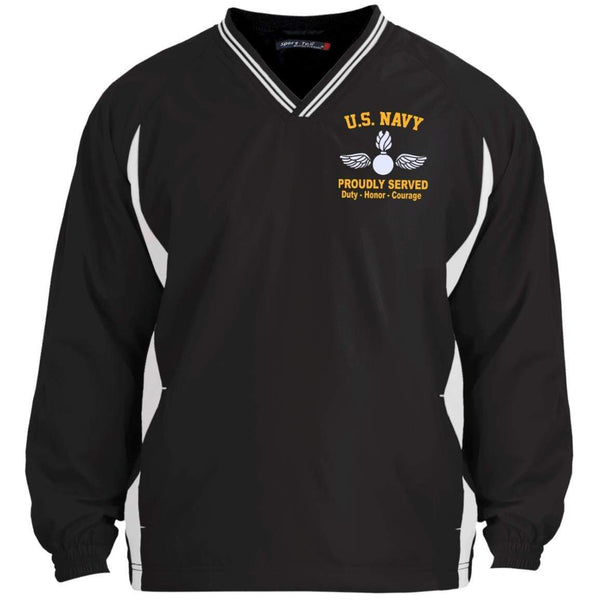 US Navy Aviation Ordnanceman AO Logo Embroidered Sport-Tek Tipped V-Neck Windshirt