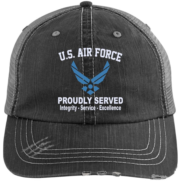 US Air Force Logo Core Values Embroidered Distressed Unstructured Trucker Cap