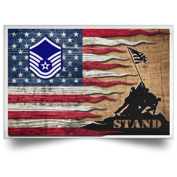 US Air Force E-7 Master Sergeant MSgt E7 Noncommissioned Officer Ranks AF Rank Stand For The Flag Satin Landscape Poster