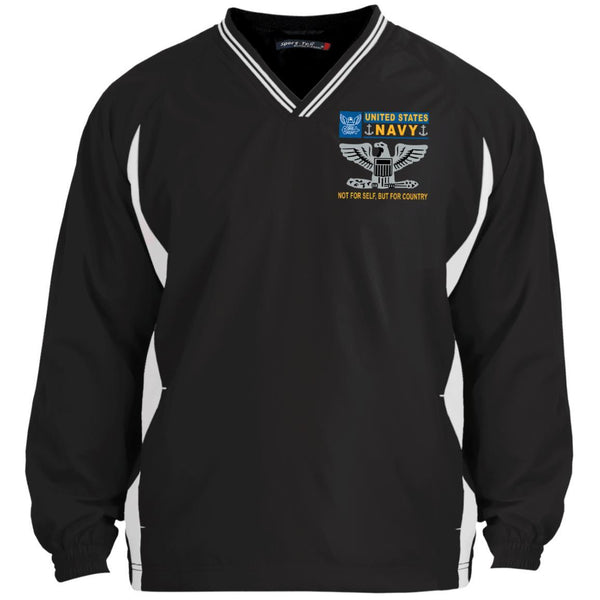 US Navy O-6 Captain O6 CAPT Senior Officer Not For Self But For Country Sport-Tek Tipped V-Neck Windshirt