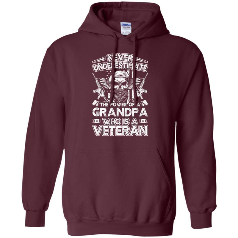 Never Underestimate The Power Of A Grandpa Who Is A Veteran T-Shirt On Front