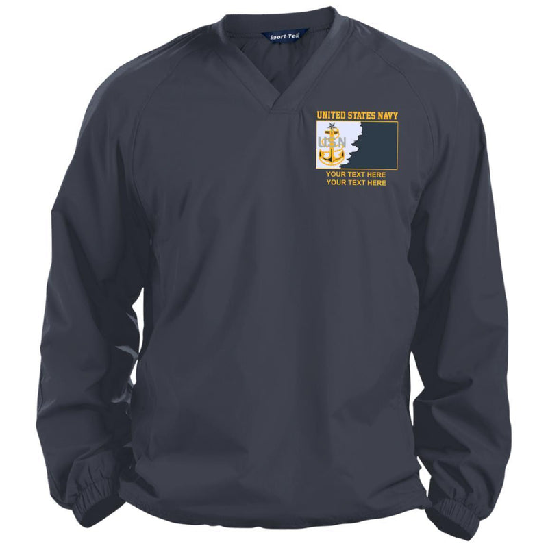 US Navy E8 - Senior Chief Petty Officer SCPO Rating Badge Personalized Embroidered Sport-Tek® Pullover V-Neck Windshirt