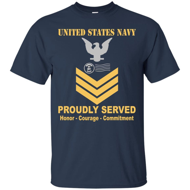 Navy Postal Clerk Navy PC E-6 Rating Badges Proudly Served T-Shirt For Men On Front