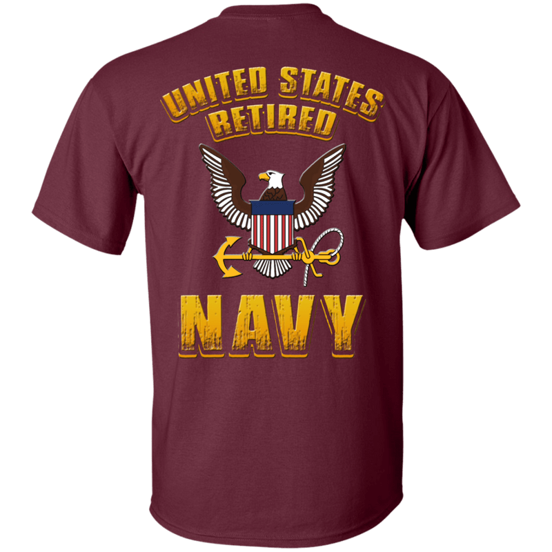US Retired Navy Back T Shirts
