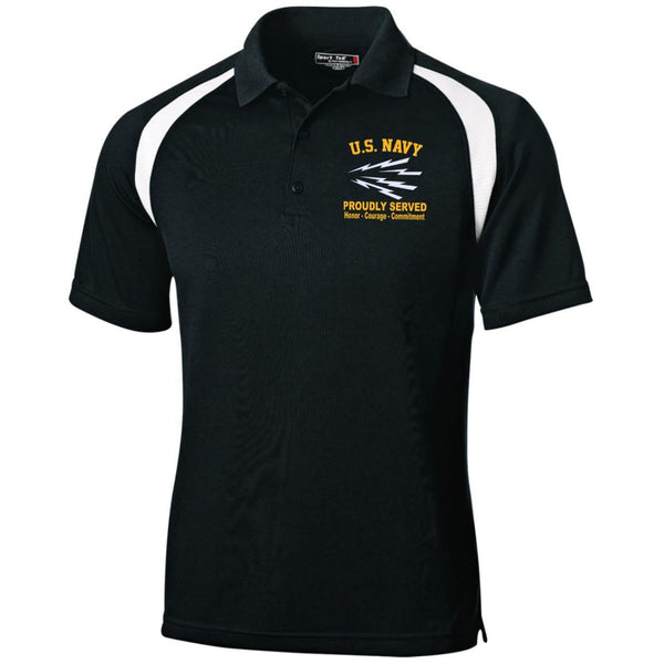 US Navy Radioman RM Logo Embroidered Sport-Tek Moisture-Wicking Tag-Free Golf Shirt
