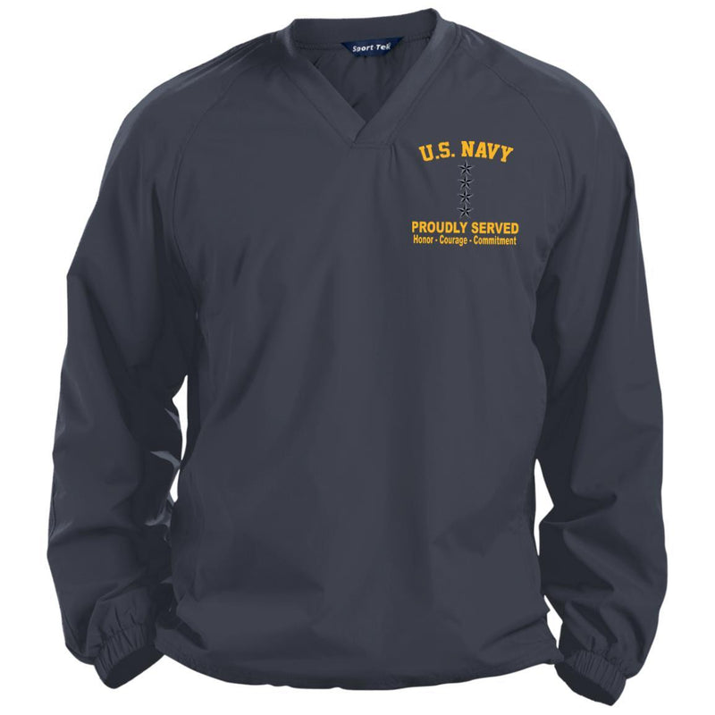 US Navy O-10 Admiral O10 ADM Flag Officer Proudly Served Embroidered Sport-Tek Pullover V-Neck Windshirt