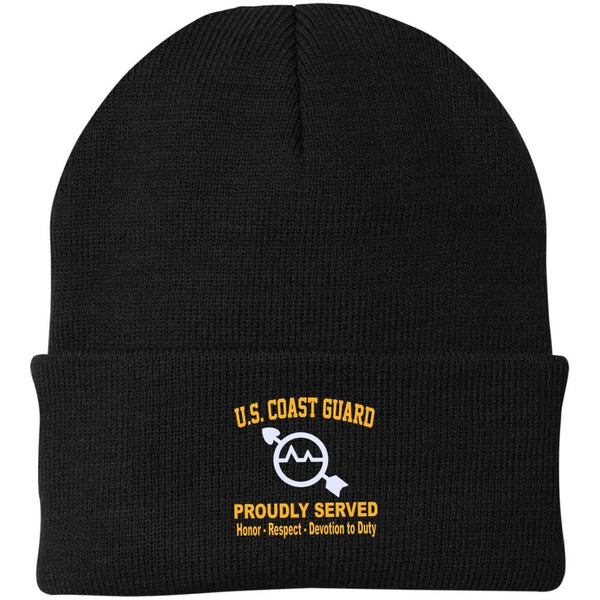 US Coast Guard Operations Specialist OS Logo Embroidered Port Authority Knit Cap