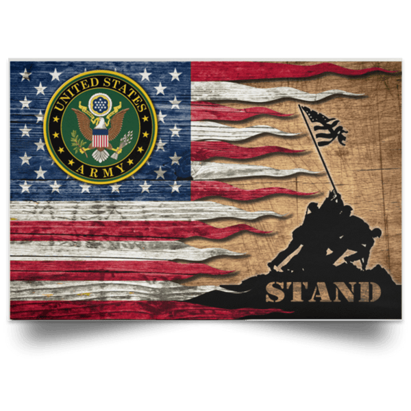 US Army Stand For The Flag Satin Landscape Poster
