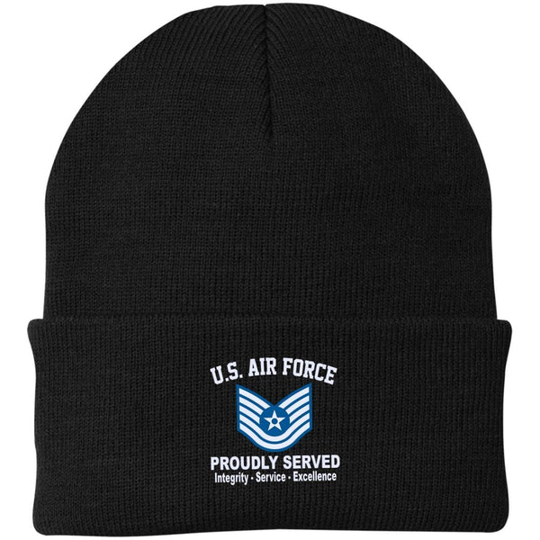 US Air Force E-6 Technical Sergeant TSgt E6 Noncommissioned Officer Core Values Embroidered Port Authority Knit Cap