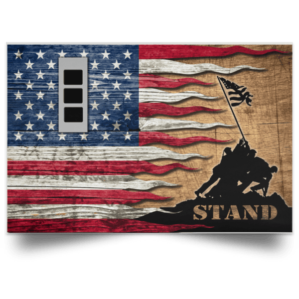 US Army W-3 Chief Warrant Officer 3 W3 CW3 Warrant Officer Stand For The Flag Satin Landscape Poster