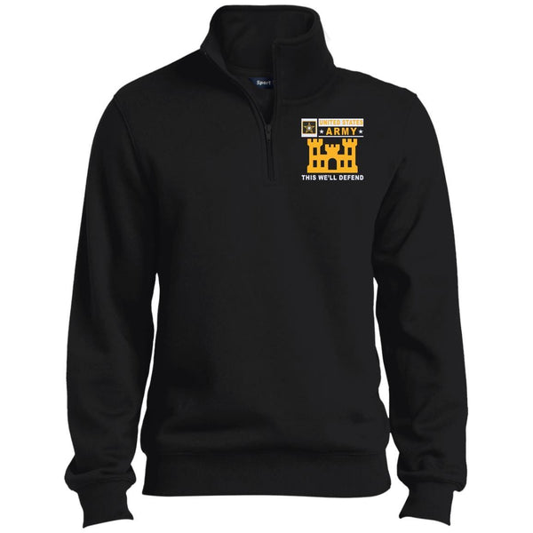 US Army Corps Of Engineers- This we'll defend Embroidered 1/4 Zip Pullover