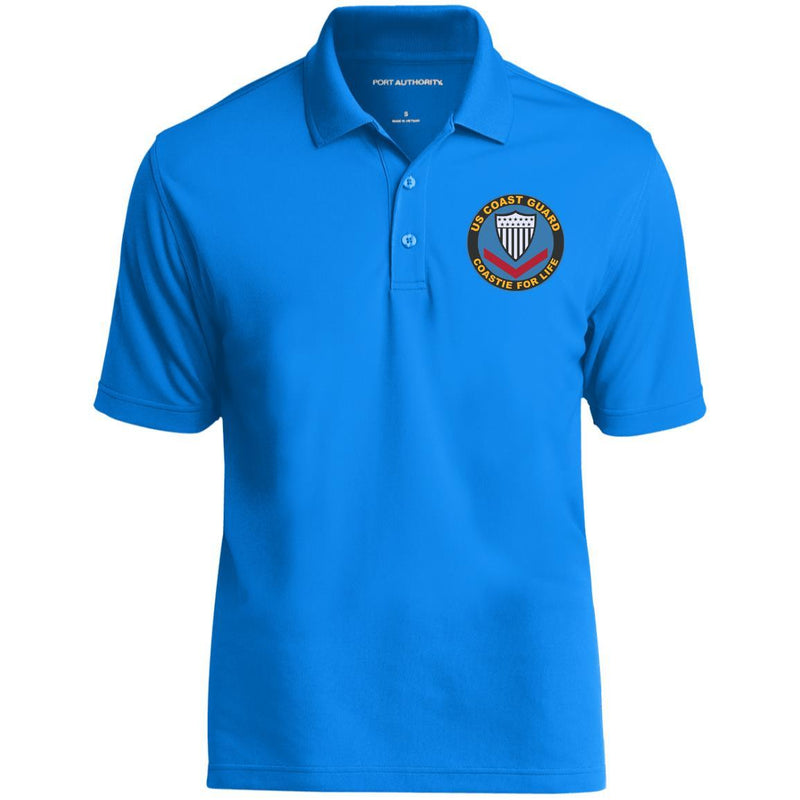 US Coast Guard E-4 Petty Officer Third Class E4 PO3 Petty Officer Collar Device Coastie For Life Embroidered Port Authority® Polo Shirt